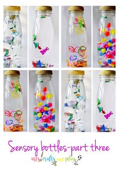 Sensory bottles are clear bottles that are filled up with a variety of materials that stimulate your children´s senses through sight, touch, smell, taste and hearing. Baby Learning Activities, Montessori Activities, Infant Activities, Montessori Baby, Montessori Bedroom, Kids Learning, Calming Activities, Baby Sensory Play, Baby Play