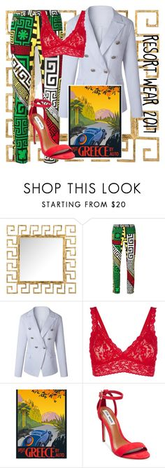 """""""Resort Wear 2017"""" by sixtystyle ❤ liked on Polyvore featuring Safavieh, Versace, Hanky Panky and Steve Madden"""