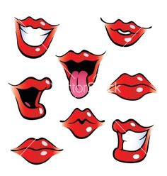 Cartoon female mouths with glossy lips. Collection of female mouths with glossy lips. Lips Cartoon, Cartoon Mouths, Cartoon Art, Cartoon Makeup, Cliparts Free, Mouth Drawing, Drawing Faces, Drawing Lips, Female Lips