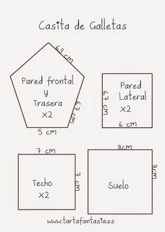 Plantillas para hacer unas Casa de Galletas, en la fachada frontal hay que hacer una ventana con algún cortante de galletas mediano, un corazón, un círculo, cuadrado... Más en mi blog www.tartafantasia.es