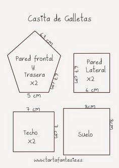Plantillas para hacer unas Casa de Galletas, en la fachada frontal hay que hacer una ventana con algún cortante de galletas mediano, un corazón, un círculo, cuadrado... Más en mi blog www.tartafantasia.es                                                                                                                                                                                 Más