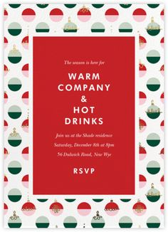 Dipped Ornaments by kate spade new york online Christmas party invitation available at Paperless Post Christmas Party Invitations, Birthday Invitations, Paperless Post, Digital Invitations, Tool Design, Rsvp, Cards, Kate Spade, York