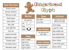 gingerbread glyph for when we chase the gingerbread man around the school!
