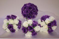 Bridal Bouquet- All purple flowers with little bits of green.  Bridesmaids- All white flowers with little bits of green