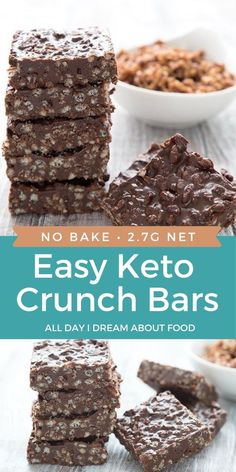Easy no bake low carb bars with a truly crispy crunch! These Keto Chocolate Crunch Bars are a one-of-a-kind treat.