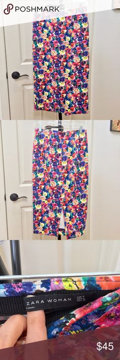 """Zara bright floral pencil skirt Purchased in Dubai and worn TWICE! Beautiful bright floral midi pencil skirt, hits just below my knees (at 5'8""""). Very stretchy, back slit. Price firm unless bundled. Zara Skirts Midi"""