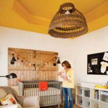 Rustic Neutral Farm Theme Baby Nursery With Barn Board Featureustard Yellow Tray Ceiling