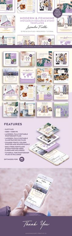 Lavender Field INSTAGRAM BANNER pack by Andimaginary Creative Co. #ad