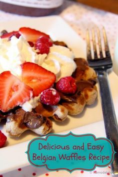 Fast Belgian Waffles Recipe from Remodelaholic.com. Tastes like real Belgian waffles without using yeast or waiting for it to rise. #breakfast #waffles #recipe #Belgian @Remodelaholic .com .com .com .com