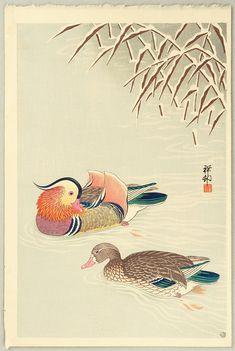 Ohara Koson: Mandarin Ducks in Snow - 1935