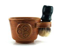 Steampunk Shaving Mug Brown Gears Shave Mug by MiriHardyPottery  https://www.etsy.com/treasury/NzY1OTE4MXwyNzI2OTMxNTQy/men-in-blue?ref=fp_treas&aref=15554088916