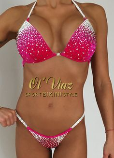 Fuchsia Velvet Competition Bikini with by OlViaz on Etsy
