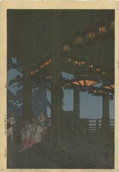 Hiroshi Yoshida - Japanese Woodblock Print Nigatsudo Hall at Todai-ji Temple, 1926 Toledo Museum Of Art, Art Museum, Hiroshi Yoshida, Art Occidental, Japanese Woodcut, Japanese Painting, Landscape Prints, Art Institute Of Chicago, Art Graphique