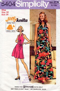1970s Halter Wrap Maxi Mini Dress Vintage Sewing Pattern - Simplicity 5404 Bust 34 UNCUT on Etsy, $15.00