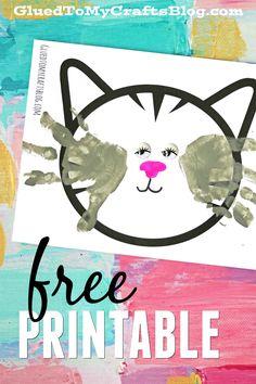 Handprint Cat Whiskers - Kid Craft Keepsake Idea w/free printable template!!!