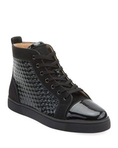 Christian Louboutin Men's Louis Orlato Textured Patent Leather Sneakers – louis vuitton shoe mens Christian Louboutin Shoes Mens, Christian Louboutin Red Bottoms, Classic Sneakers, All Black Sneakers, High Top Sneakers, Men's Sneakers, Mens Fashion Wear, Womens Fashion Sneakers, High Fashion