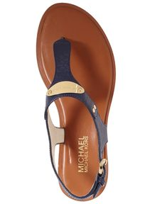 54df524f56 MICHAEL Michael Kors Shoes, MK Plate Flat Thong Sandals - Shoes - Macys Michael  Kors