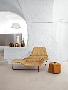 Chaise com material natural
