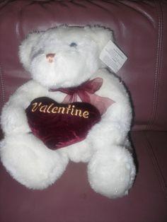 WALMART St Valentineu0027s Day BURGANDY HEART Teddy Bear Plush Stuffed Animal  Toy