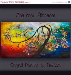 Sale Original Surreal Painting Blossom tree art, large brushwork Impasto abstract oil painting by Tim Lam 48x24