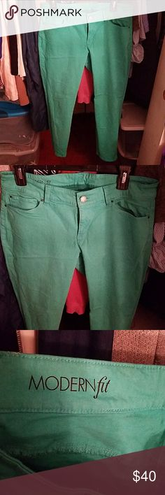 Ann Taylor Capri jeans Green Ann Taylor Capri jeans. Super comfortable and a modern fit. FANTASTIC CONDITION. Ann Taylor Jeans