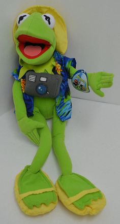 """Nanco Muppets Kermit Frog Plush Tourist Vacation Camera Hawaiian Shirt 20"""" NEW #Nanco http://stores.ebay.com/Lost-Loves-Toy-Chest/_i.html?image2.x=0&image2.y=0&_nkw=muppets"""