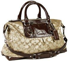 Amazon.com: New Authentic COACH Siganture Sateen Khaki Mahogany Large Satchel Bag 15440 w/COACH Receipt: Clothing