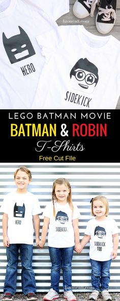 Let the kids become their favorite hero or sidekick and make them one of these Lego Batman Movie t-shirts. Free designs/cut files to DIY.