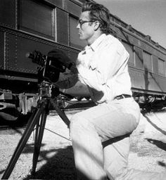 James Dean the Giant filming by a train