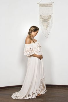 """Wonder Years"" Women's embroidered maxi dress - Blush Fillyboo - Boho inspired maternity clothes online, maternity dresses, maternity tops and maternity jeans."