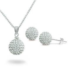 Sterling Silver Clear Crystal Disco Ball Necklace & Earrings Set - 16IN Kriskate & Co.. $32.99. Save 23% Off!