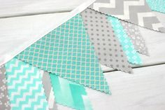 Bunting Fabric Banner, Fabric Flags, Photography Prop, Wedding Decoration - Mint, Gray, Aqua, Grey, Chevron, Dots, Flowers - Ready to Ship on Etsy, $36.96 AUD