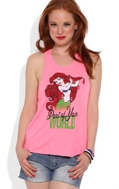 Deb Shops Racerback Swing Tank with Ariel Part of Your World Screen $13.50