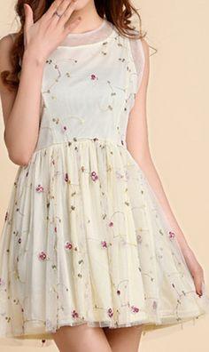 Embroidery flower vest chiffon dress