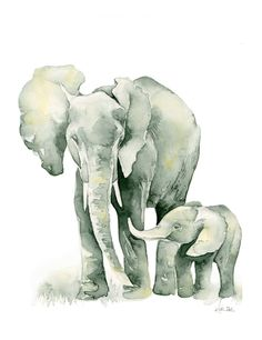 Elephant Baby PRINT 8x10 inches Gray by PinkPoppyWatercolors, $24.00