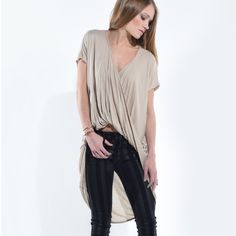 """""""Madhatter"""" Twist Front High Low Top Twist front high low top. Available in mocha and black. This listing is for the MOCHA. Brand new. Bare Anthology Tops"""