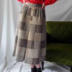 VIN-SKI-0093 Vintage φούστα μίντι καρό καφέ Hammer Waist Skirt, High Waisted Skirt, Vintage Skirt, Pure Products, Brown, Skirts, Fashion, Moda, Skirt