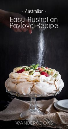 Easy Australian Pavlova Recipe with The Kitchenaid Artisan Mini Mixer - Crunchy meringue with lashings of sweet cream and fruit. | wandercooks.com