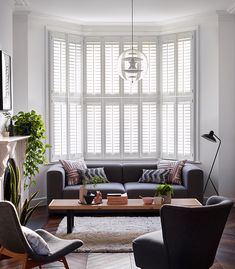 Pure white shutters are timeless and beautiful and work wonderfully with modern and classic interior styling Wooden Shutter Blinds, Wooden Shutters, White Shutters, Classic Interior, Pure White, Interior Styling, It Is Finished, House Design, Colours