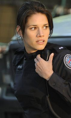 "Missy Peregrym  as Officer Andy McNally in ""Rookie Blue"" (2012)."