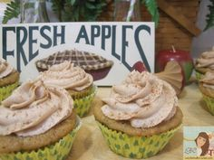 Lady Behind The Curtain - Spiced Apple Cupcakes with Snickerdoodle Cookie Dough Frosting