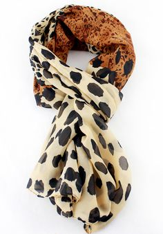 Yellow Leopard Silk Scarves US$15.53