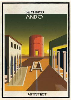 Federico Babina inserts 20th century architecture into famous artworks