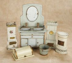 "Collection of German Tin Dollhouse Accessories,Probably Maerklin  9 1/2"" (24 cm.) cabinet. Each is of tin with painted finish,including bath..."