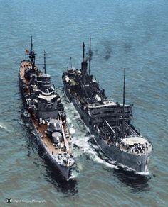 Left: Heavy cruiser Furutaka - 古鷹  Right: Oiler Tsurumi -鶴見