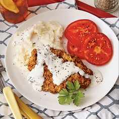 Chicken-Fried Steak with Milk Gravy - Lighter American Main Dish Recipes - Cooking Light