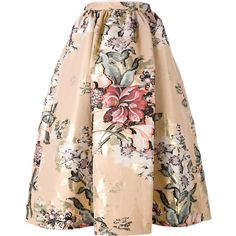 Fendi Skirt in Cotton Fil Coupé With Flowers ($1,540) ❤ liked on Polyvore featuring skirts, multicolor, high waisted midi skirt, cotton midi skirt, high-waist skirt, box pleat midi skirt and mid calf skirts