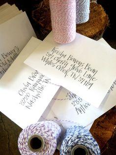 Black calligraphy baby shower envelopes    www.hardinkcalligraphy.com