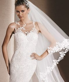 Patrick presents the wedding dresses and cocktail dresses from the St. Patrick, White One and La Sposa Collections. Wedding Dress With Veil, 2016 Wedding Dresses, Wedding Gowns, Bridal Veils, Dresses 2016, Lace Mermaid, Mermaid Style, Mermaid Wedding, Wedding Album