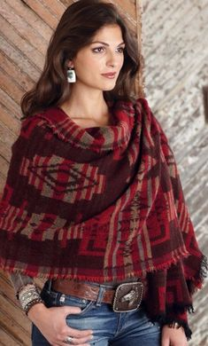 Deep red western scarf/shawl by Tasha Polizi available through Crow's Nest Trading Co. Estilo Cowgirl, Cowgirl Chic, Western Chic, Cowgirl Style, Western Wear, Cowgirl Bling, Cowgirl Outfits, Western Outfits, Cowgirl Fashion
